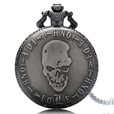 DEATH NOTE Quartz Big Black Skull Pocket Watch Necklace Pendant Steampunk New