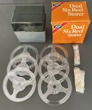 Boots Dual Six Reel Storer, Storage Box Case WITH 6 x 200ft 8mm Cine Film Reels
