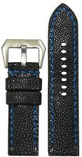 24mm Panatime Handmade Black Polished Stingray Watch Band w Blue Stitch 24/24