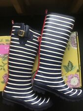 Joules Wellies Rain Boot Waterproof Blue White Striped - Women's 10 AWESOME!