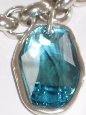 NWOT UNO DE 50 NECKLACE HAND CRAFTED in SPAIN w. LARGE SWAROVSKI TURQUOISE STONE
