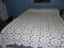 "Antique Crochet Bedspread/Circa 1900's/Ecru/Heavy Cotton/72""X 84"""