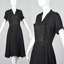 S 1950s Black Short Sleeve Dress Double Breasted Decorative Buttons Cocktail 50s