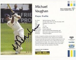 MICHAEL VAUGHAN SIGNED PROMO CARD SPORT AUTOGRAPH CRICKET ENGLAND & YORKSHIRE
