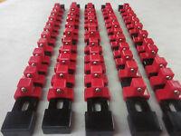 "5pc 1/2"" DR 14"" RED SOCKET RAILS RACKS HOLDER ORGANIZER ABS PLASTIC MOUNTABLE"