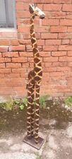 More details for giraffe 1.2m tall wooden giraffe free standing hand carved giraffe ornament
