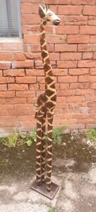 Stunning 1.2m Tall large giraffe hand carved solid wood giraffe ornament 120cm