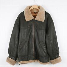 Vintage Black Aviator Flight Leather Shearling Jacket Size Mens XL /R45003