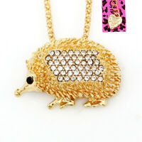 Women's Crystal Cute Hedgehog Pendant Chain Betsey Johnson Necklace/Brooch Pin