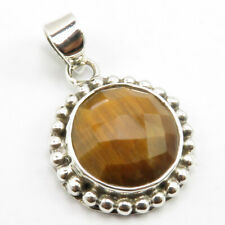 """925 Solid Sterling Silver Round Tiger's Eye 2 Stone Necklace Pendant 1.1"""" Bijoux"""