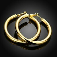 18K Yellow Gold Filled 50MM Large LIGHT WEIGHT Hoop Fashion Earrings H7