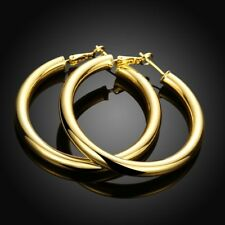 18K Yellow Gold Plated Round 50MM Large LIGHT WEIGHT Hoop Earrings