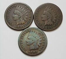 Very Low Mintage Lot of (3) 1885 Indian Head Cents