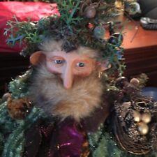 Woodland 18� Holiday Elf With A Fur Beard Hold Birds Nest