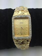 """New Seiko 14K Solid Yellow Gold 7.25"""" Nugget Style Link Wrist Watch with Diamond"""