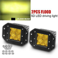 "5"" Flush Mount 24W LED Pods Work Light Bar 5D Amber Flood Fog Offroad Backup 4WD"