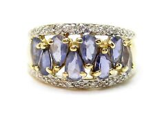 Iolite 2.40ct. & Diamonds 0.12ct. Width Band Ring Yellow 9Carat Gold Ring Size P
