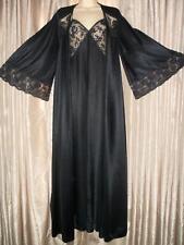 Vintage MISS ELAINE Nightgown ROBE SET Lace Black ENKALURE Nylon Gown S Small