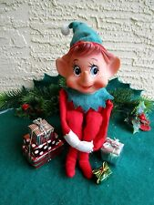 VINTAGE ELF/PIXIE LARGE POINTED NOSE & CHIMES WHEN YOU SHAKE KNEEHUGGER ORNAMENT