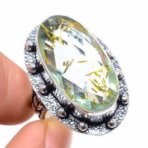Golden Rutile Quartz Gemstone Handmade Ethnic 925 Silver Jewelry Ring Size 8.5