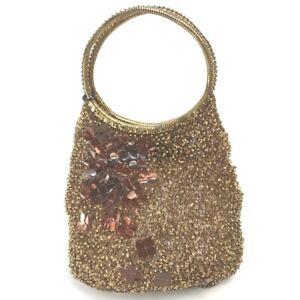 ANTEPRIMA Decoration wire Flower pattern Tote Bag Hand Bag Vinyl Gold