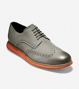 Cole Haan Men Original Grand Short Wingtip Oxfords US 8.5M Magnet Nubuck C30344