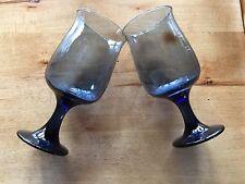 "Pfaltzgraff Yorktowne 6 oz. Blue Wine Glasses Goblets 5 1/2"" Set of 2"