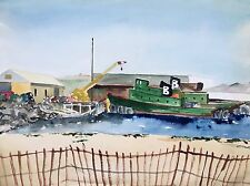 Expressionist Watercolor Painting Seascape Dock Crain Boats PA Artist