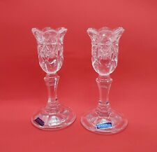 """Waterford Crystal Marquis Line Set of Two 6"""" Candle Holders in Original Box"""