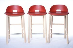 Authentic Emeco Industries Alfi Low-Back Counter Stool Set of 3 | DWR