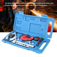 Double Brake Line Flaring Tool Kit With Tubing Cutter Car Truck Repair Set