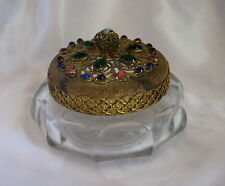Vintage Clonial Quality Crystal Round Candy Jar with Multi-color Stones Lid