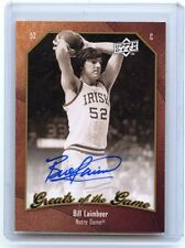 2010-11 UD GREATS OF THE GAME #63 BILL LAIMBEER AUTOGRAPH, NOTRE DAME, 102114