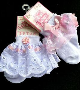 PACK OF 2-GIRLS-LACE ANKLE SOCKS-PRINCESS PARTY-WHITE PINK-RIBBON BOWS