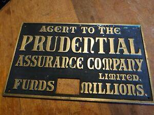 Vintage Original Brass Sign Prudential Plaque