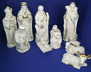 Porcelain Nativity Set Cream with Gold Trim Accents 10 Piece