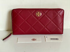 NEW! TORY BURCH GEORGIA REDSTONE METALLIC ZIP CONTINENTAL CLUTCH WALLET $228