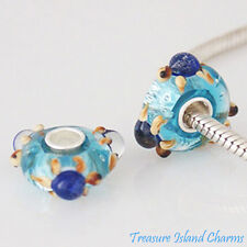 SEA OCEAN TURTLE BLUE FOIL MURANO GLASS .925 Sterling Silver EUROPEAN Bead Charm