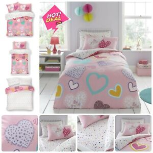 KIDS HEARTS DUVET COVER SET Reversible Quilt Bedding Fitted Sheet Single Double