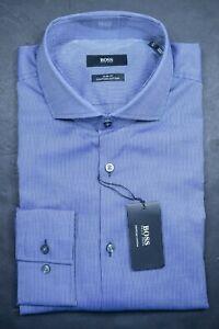 Hugo Boss Men's Jason Slim Fit Navy Striped Egyptian Cotton Dress Shirt 41 16
