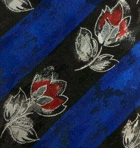Black Blue Floral Striped DIOR Silk Tie