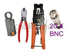 Compression Tool Stripper Cutter BNC F Coax Connector RG59 Crimping Cable 20 CON