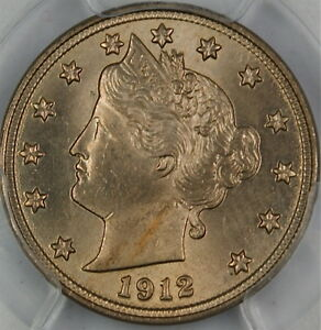1912 Liberty Nickel Coin, PCGS MS-64 (a)