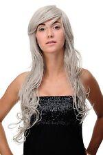 LONG Perruque gris mélange de GRIS-NOIR ondulé env. 70 cm 9669el-51