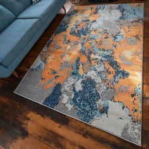 New Vibrant Blue Orange Rugs Living Room Dense Abstract Distressed Navy Boho Rug