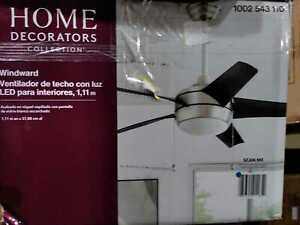 """Windward 44"""" LED Brushed Nickel Ceiling Fan w/ Light Kit by Home Decorators Coll"""