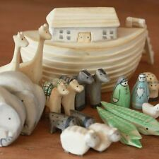 East of India Mini Wooden Noah Ark & Animals - Baby Gift / Christening Present