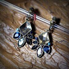 Boucles d'Oreilles Clips Coquillage Art Deco Bleu Noir Original Mariage C5