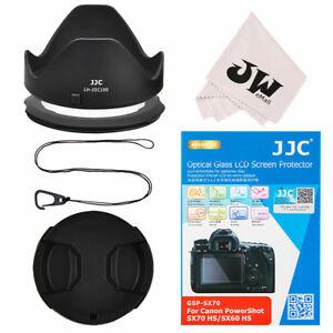 5in1 Lens Hood + Lens cap + Screen Protector for Canon Powershot SX70 HS SX60 HS