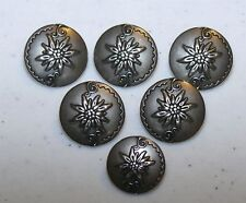 "(6) 6/8"" VINTAGE Antique Picture EDELWEISS FLOWER Metal BUTTONS 4 German Jacket"